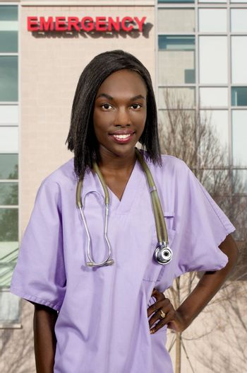 Female doctor with a stethoscope explaining a diagnosis