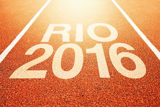 Rio Olympics 2016 title on athletic sport running track