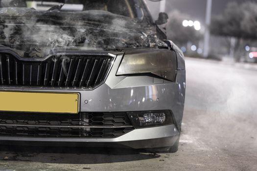 broken steaming car