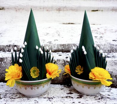 Pair of Art of banana leaf and flower buddhism, culture of thailand, ceremony bai sri