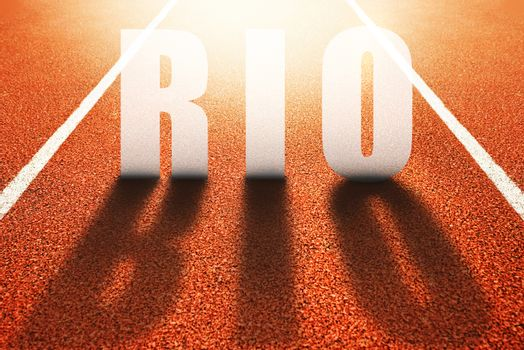 Rio title on athletic sport running track