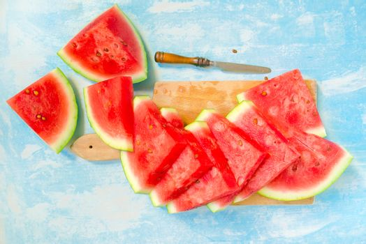 Sliced watermelon, top view