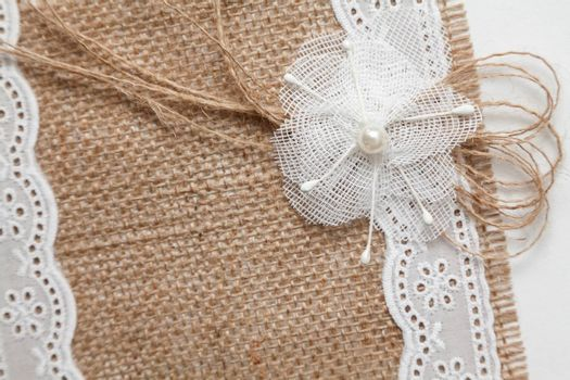 Wedding concept with burlap and lace