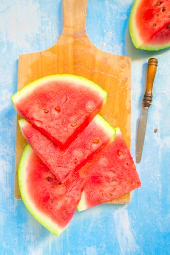 Watermelon slices, top view