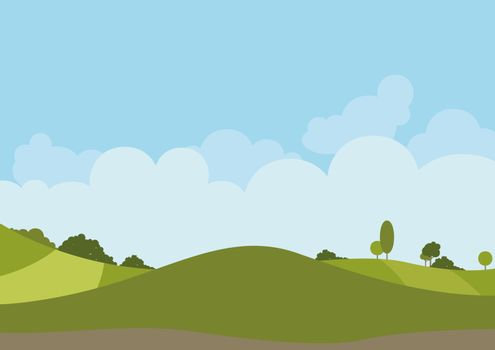 Spring Green Landscape - Background Illustration, Vector
