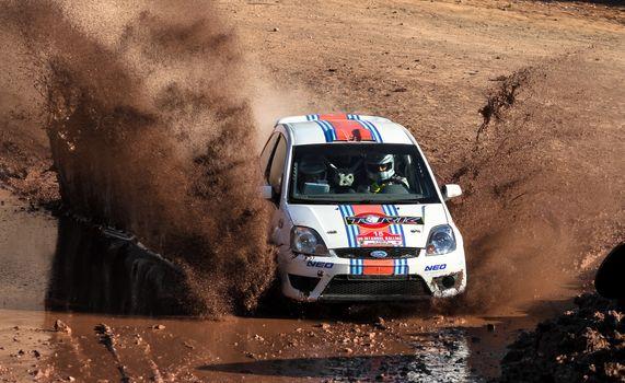 ISTANBUL, TURKEY - NOVEMBER 14, 2015: Kerim Tar drives Ford Fiesta ST in Isok Istanbul Rally 2015, Gocbeyli stage
