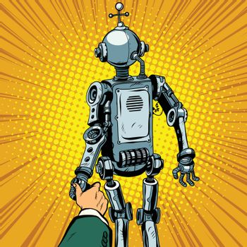 Follow me, the robot leads us forward