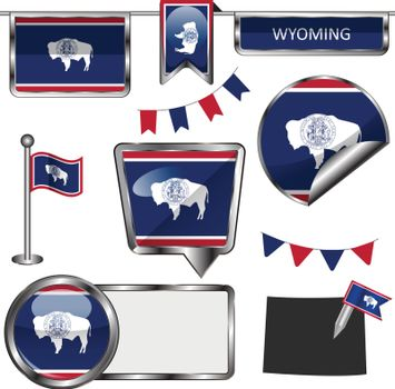 Glossy icons with flag of state Wyoming