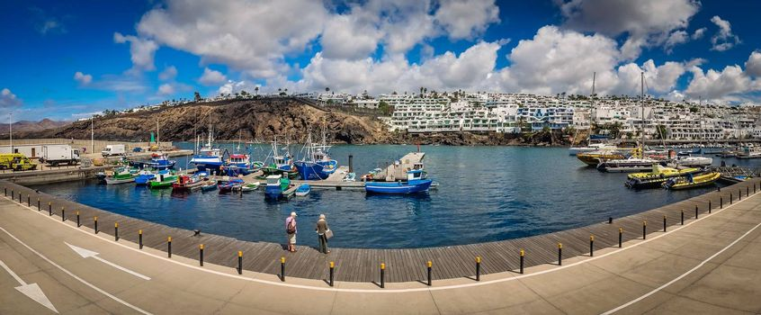 Panoramic view of the harbour in Puerto del Carmen in Lanzarote Canary Islands, Spain. Picture taken 19 April 2016.
