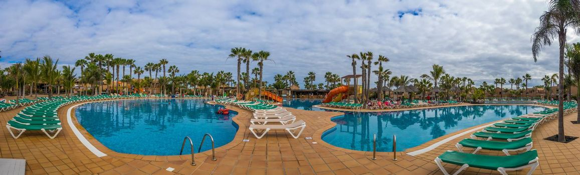 Panoramic view of a large swimming pool in a resort in Fuerteventura, Canary Islands, Spain. Picture taken 11 April 2016.