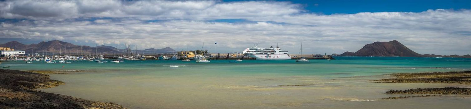 Panoramic view of the Corralejo harbour, Fuerteventura, Canary Islands, Spain. Picture taken 11 April 2016.