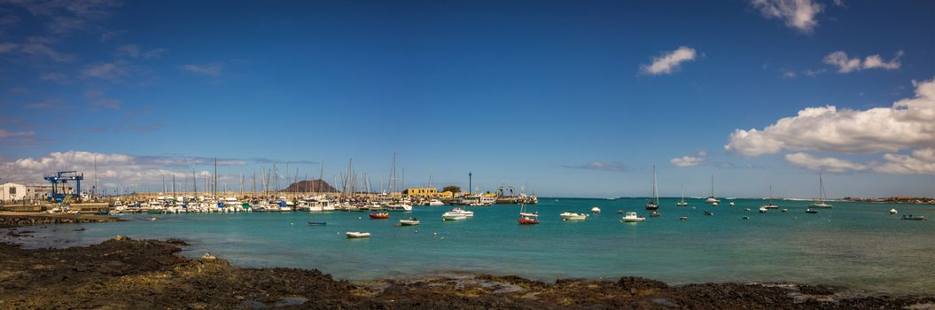 Panoramic view of the Corralejo harbour, Fuerteventura, Canary Islands, Spain. Picture taken 12 April 2016.
