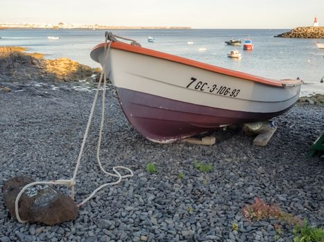 Colorful boat in a harbour in Playa Blanca, Lanzarote, Canary Islands, Spain. Picture taken 22 April 2016
