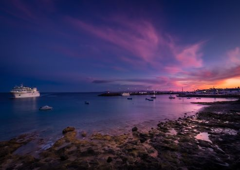Harbour in Playa Blanca at sunset, Lanzarote, Canary Islands, Spain. Picture taken 22 April 2016.