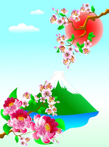 Mount Fuji, flowers and blooming cherry. Landscape with cherry blossoms and Mount Fuji.