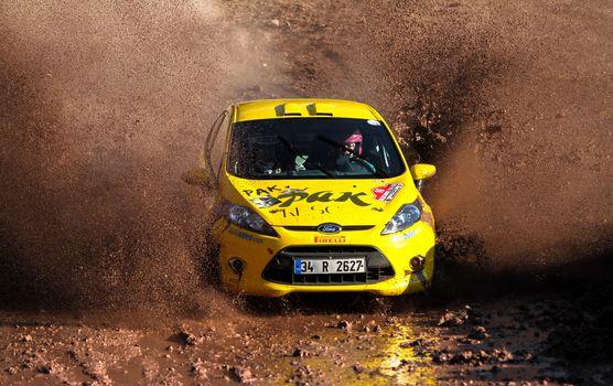 ISTANBUL, TURKEY - NOVEMBER 14, 2015: Serpil Pak drives Ford Fiesta R2 in Isok Istanbul Rally 2015, Gocbeyli stage