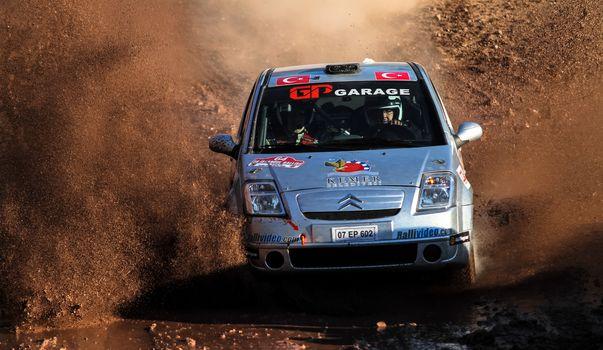 ISTANBUL, TURKEY - NOVEMBER 14, 2015: Kenan Kar drives Citroen C2 GT in Isok Istanbul Rally 2015, Gocbeyli stage