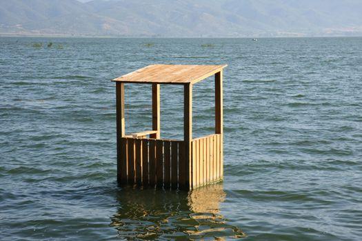 Flooded lifeguards cottage in Dojran lake,Macedonia