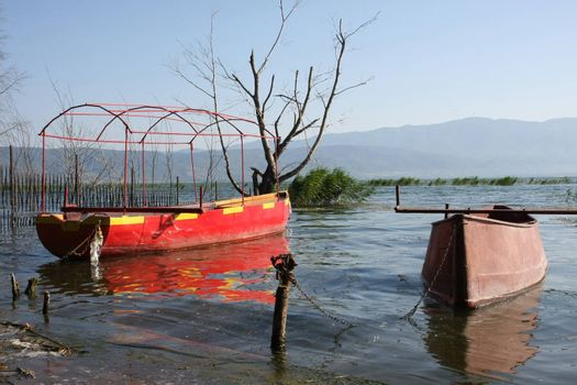 Old boats in Dojran lake in Macedonia after storm