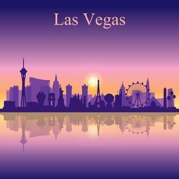 Las Vegas skyline silhouette on sunset background