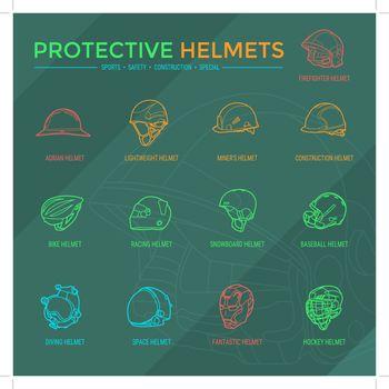 Protective Helmets Icons