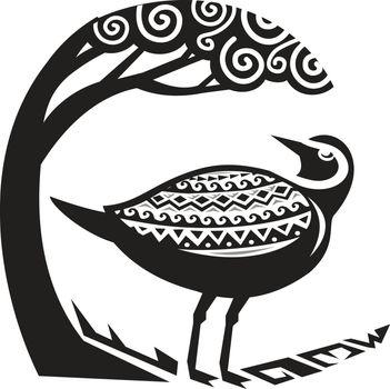 Golden Plover Standing Tree Tribal Art