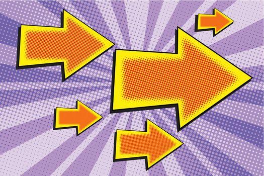Arrow big and small pop art retro vector illustration