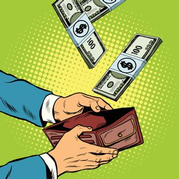 Money falling into wallet, financial profits and wealth