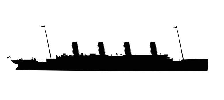 Silhouette of the doomed ocean liner Titanic