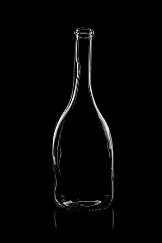 transparent bottle of brandy