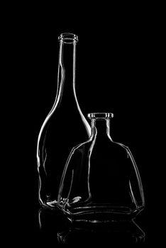 transparent bottles of brandy