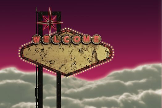 3d illustration of an old and rusty welcome sign
