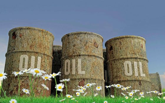 3d illustration of rusty oil barrels on green field