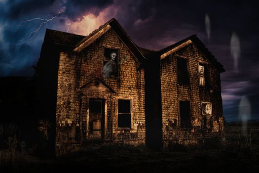 Haunted House with Lightning and Ghosts