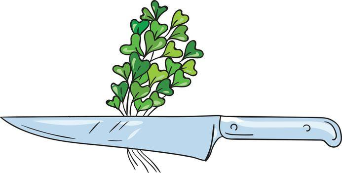Knife Microgreen Drawing