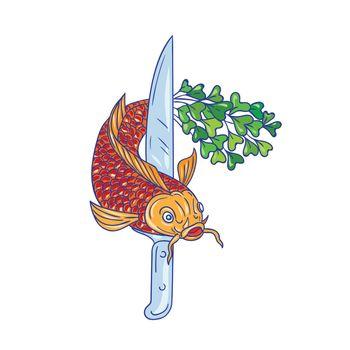 Koi Nishikigoi Carp Fish Microgreen Tail Knife Drawing
