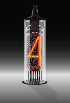 Digit 4 on vintage vacuum tube display