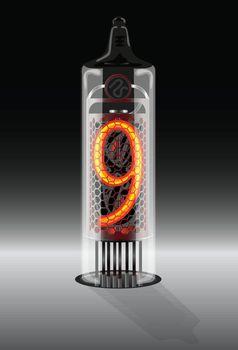 Digit 9 on vintage vacuum tube display