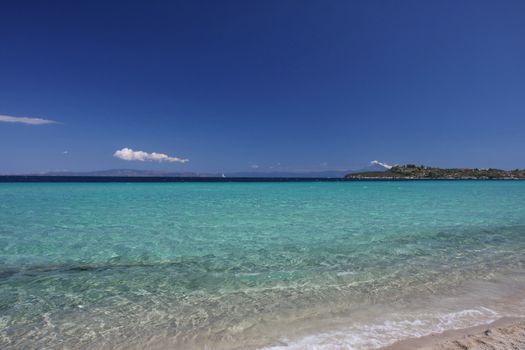 Beauriful nuances of blue colour on the Aegean sea beach,Greece