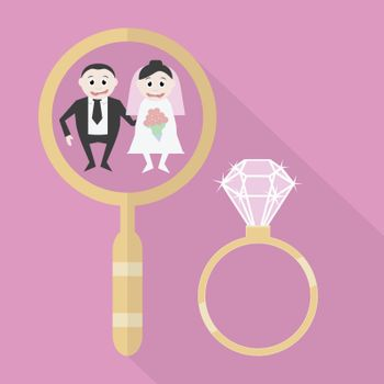 partner search, for a wedding gift and a gold ring with a diamond