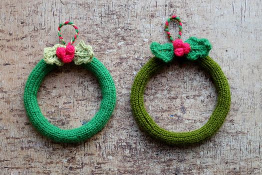 Diy Christmas wreath for decoration the door on Xmas holiday, a traditional festive in winter,  knit in round to make wreaths for christmas decoration