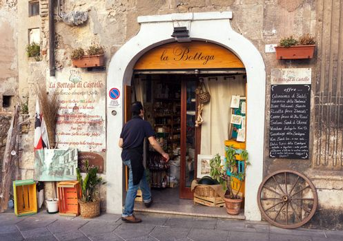 CAGLIARI, ITALY - JULY 07, 2016: Entrance of traditional grocery shop in old town of Cagliari, Italy