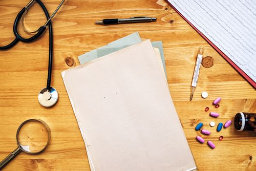Doctor's work desk, General medical practitioner workspace, top