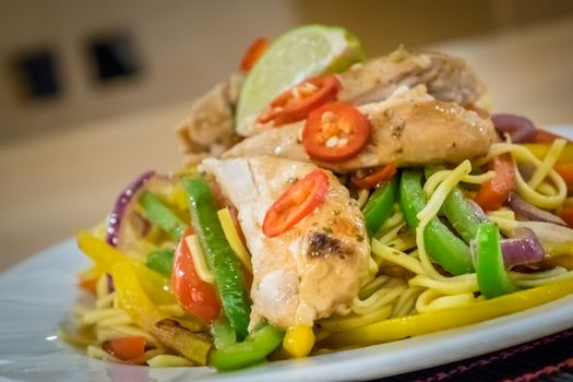 Oriental grilled chicken meal vegetables and noodles