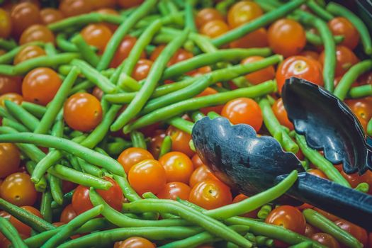 Cherry tomatoes and blanched green beans salad
