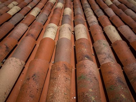Roof tiles on an old building in Fuerteventura, Canary Island, Spain
