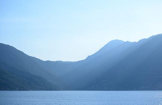 Bay of Kotor in Evening. Panorama of Boka-Kotorska bay, Montenegro.