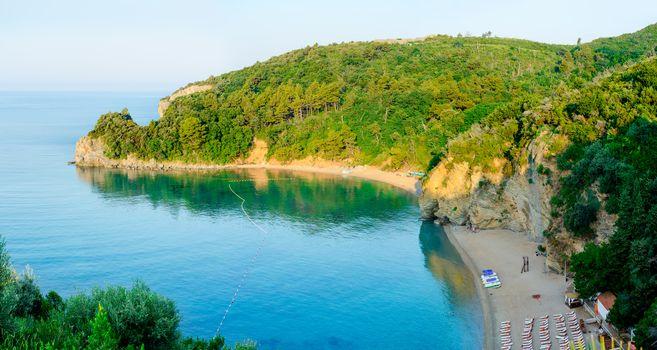Morning at Beautiful Mogren Beach. Budva, Montenegro