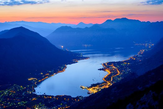 Bay of Kotor at Night. Panorama of Boka-Kotorska bay. Aerial View of Kotor Town, Montenegro.