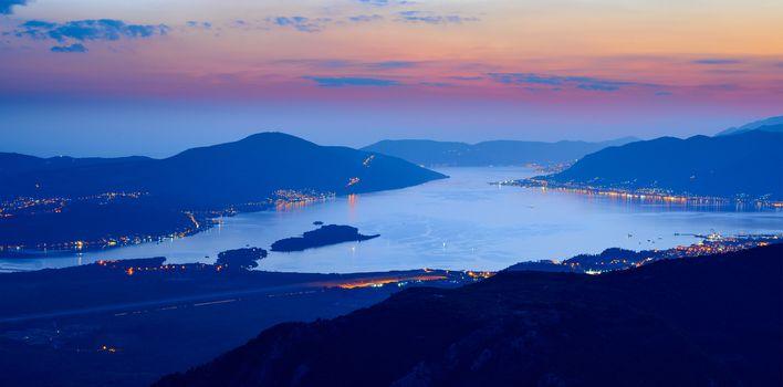 Bay of Kotor at Night. High Resolution Panorama of Boka-Kotorska bay. Kotor, Tivat, Perast, Montenegro.
